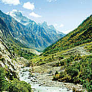 Valley Of River Ganga In Himalyas Mountain Print by Raimond Klavins