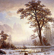 Valley Of The Yosemite Snow Fall Print by Albert Bierstadt