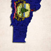 Vermont Map Art With Flag Design Print by World Art Prints And Designs