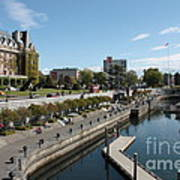 Victoria Harbour With Empress Hotel Print by Carol Groenen