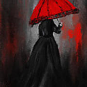 Victorian Lady With Parasol Print by Lourry Legarde