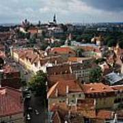 View From Above Of Old Town Tallinn  Estonia Print by Cliff Wassmann