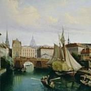 View Of The Riddarholmskanalen Print by Gustav Palm