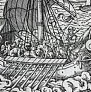 Viking Ship Print by German School