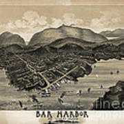 Vintage Bar Harbor Map Print by Edward Fielding