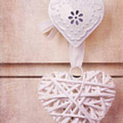 Vintage Hearts With Texture Print by Jane Rix