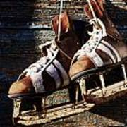 Vintage Pair Of Mens  Ice Skates Hanging On A Wooden Wall With C Print by Mikhail Olykaynen