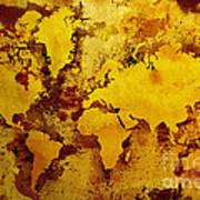 Vintage World Map Print by Zaira Dzhaubaeva