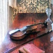 Violin On Credenza Print by Susan Savad