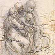 Virgin And Child With St. Anne Print by Leonardo da Vinci