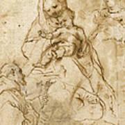 Virgin And Child With St. Francis Print by Federico Fiori Barocci or Baroccio