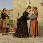 Visiting The Wet Nurse Print by Silvestro Lega