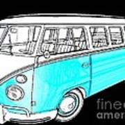 Volkswagen Turquoise Print by Cheryl Young