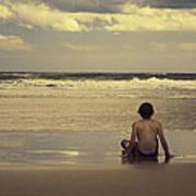 Watching The Waves Print by Linda Lees