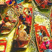 Water Market Print by Mo T
