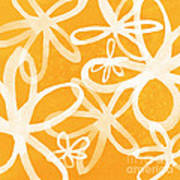 Waterflowers- Orange And White Print by Linda Woods