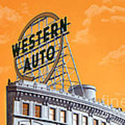Western Auto Sign Artistic Sky Print by Andee Design