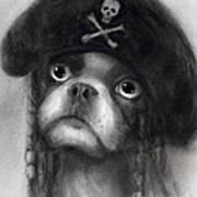 Whimsical Funny French Bulldog Pirate  Print by Svetlana Novikova