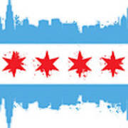 White Chicago Flag Print by Mike Maher