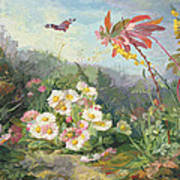 Wild Flowers And Butterfly Print by Jean Marie Reignier