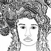 Wild Hair Portrait In Shapes And Lines Print by Lenora  De Lude