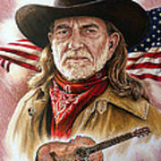Willie Nelson American Legend Print by Andrew Read