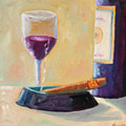 Wine And Cigar Print by Todd Bandy