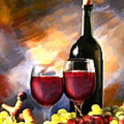 Wine Before And After Print by Elaine Plesser