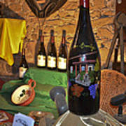 Wine Bottle On Display Print by Allen Sheffield