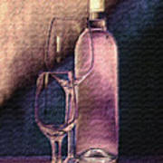 Wine Bottle With Glasses Print by Tom Mc Nemar