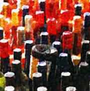 Wine Bottles In Cases Painting Print by Magomed Magomedagaev