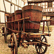 Wine Cart In Alsace France Print by Greg Matchick