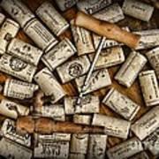 Wine Corks On A Wooden Barrel Print by Paul Ward