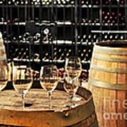 Wine Glasses And Barrels Print by Elena Elisseeva