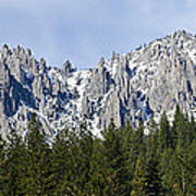Winter At Castle Crags Print by Loree Johnson