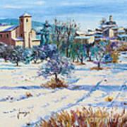 Winter In Lourmarin Print by Jean-Marc Janiaczyk