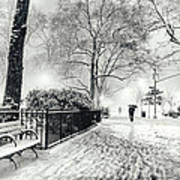 Winter Night - Snow - Madison Square Park - New York City Print by Vivienne Gucwa