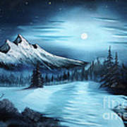 Winter Painting A La Bob Ross Print by Bruno Santoro