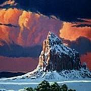 Winter Sunset Over Shiprock Print by Randy Follis