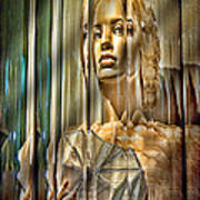Woman In Glass Print by Chuck Staley