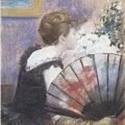 Woman Smelling Flowers Print by Jean-Louis Forain