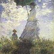 Woman With A Parasol Print by Claude Monet