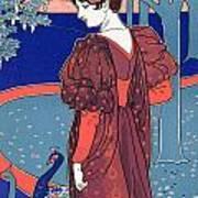 Woman With Peacocks Print by Louis John Rhead