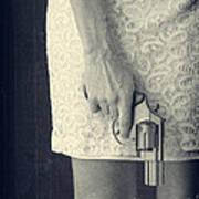 Woman With Revolver 60 X 45 Custom Print by Edward Fielding