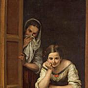 Women From Galicia At The Window Print by Bartolome Esteban Murillo