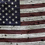 Wooden Textured Usa Flag3 Print by John Stephens