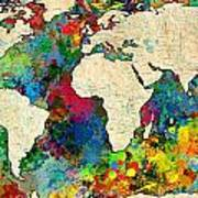 World Map Colorful Print by Gary Grayson
