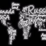 World Map In Text Neon Light Print by Dan Sproul