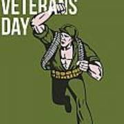 World War Two Veterans Day Soldier Card Print by Aloysius Patrimonio