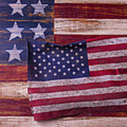 Worn American Flag Print by Garry Gay